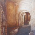 12-Passage Kasbah de Télouet, huile sur toile, 46x33, disponible à la vente.