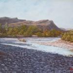 17-Paysage 1 à Aît Benhaddou, huile sur toile, 33x24, disponible à la vente.