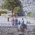 19-Traversée de l'oued à Aît Benhaddou, huile sur toile, 41x33, disponible à la vente.