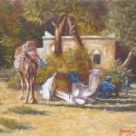 20-Fin d'après-midi à Aît Benhaddou, huile sur toile, 24x19, disponible à la vente.