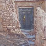 21-Porte à Aît Benhaddou, huile sur toile, 18x14, disponible à la vente.