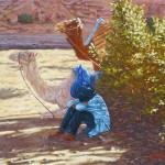 22-Repos à Aît Benhaddou, huile sur toile, 33x24, disponible à la vente.