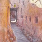 23-Rue à Ouarzazate, vieille ville 1, huile sur toile, 22x16, disponible à la vente.