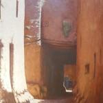25-Vieille rue à Ouarzazate, huile sur toile et technique mixte, 195x130, disponible à la vente.
