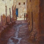 26-Enfants dans une rue à Ouarzazate, huile sur toile, 27x22, disponible à la vente.