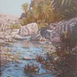 33-Oasis de Fint, paysage, huile sur toile, 33x24, disponible à la vente.