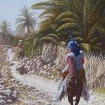 34-Sur le chemin oasis de Fint, huile sur toile, 92x60, disponible à la vente.