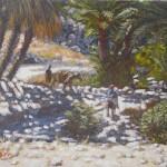 35-Contre jour, oasis de Fint, huile sur toile, 22x14, disponible à la vente.