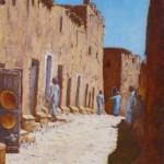 37-Rue commerçante à Ouarzazate, huile sur toile, 27x22, disponible à la vente.