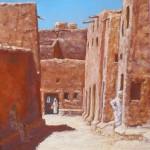38-Rue à Ouarzazate, huile sur toile, 27x22, disponible à la vente.