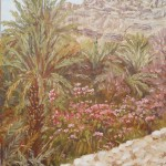 42-Palmiers et lauriers roses vallée du Draa, huile sur toile, 27x19, disponible à la vente.