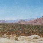 43-Palmeraie vallée du Draa (Aît Hamou-Saîd), huile sur toile, 15x60, disponible à la vente.