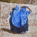 44- Femmes berbères, huile sur toile, 18x14, disponible à la vente.