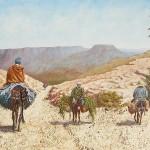45-Femme et hommes sur ânes et mulets, huile sur toile et technique mixte, 150x50, disponible à la vente.