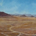 46-Paysage avant d'arrivée à Tazzarine, huile sur toile, 120x30, disponible à la vente.