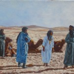 48-Cinq bédouins et trois dromadaires, huile sur toile, 27x19.