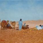 49-Repos de la caravane, huile sur toile, 27x22, disponible à la vente.