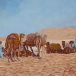 50-La halte de la caravane, huile sur toile, 27x22, disponible à la vente.