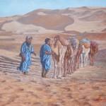 51-Deux bédouins et une caravane, huile sur toile, 35x27, disponible à la vente.