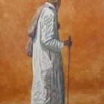 54-Vieil homme au bâton, huile sur toile, 55x33, disponible à la vente.