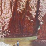 56-Bain de pieds aux gorges du Todgha, huile sur toile, 92x65, disponible à la vente.