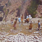 58-Sept enfants et deux femmes aux gorges du Todgha, huile sur toile, 73x60, disponible à la vente.