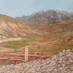 6-Village berbère haut Atlas, huile sur toile, 55x38, disponible à la vente.