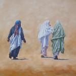 61-Cinq marocaines, huile sur toile, 40x80
