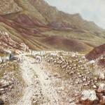 65-Paysage avec berger à El Kelaa-M'Gouna, huile sur toile et technique mixte, 65x54, disponible à la vente.