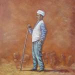66-Berger au turban, huile sur toile, 18x14, disponible à la vente.