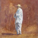68-Berger au chapeau, huile sur toile, 18x14, disponible à la vente.