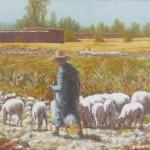 74-Paysage moyen Atlas avec bergers et moutons, huile sur toile, 35x27