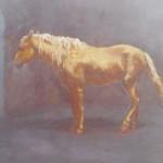 76-Cheval Alzan, huile sur toile, 22x27.