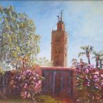 79-La Koutoubia à Marrakech, huile sur toile, 24x19, disponible à la vente.