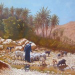 8-Un berger et son troupeau, huile sur toile, 73x60, disponible à la vente.