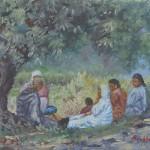 80-Repos sous l'olivier, huile sur toile, 18x14, disponible à la vente.