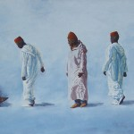 81-Neuf marocains, huile sur toile, 75x25