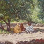 82-Sous l'olivier, huile sur toile, 18x14, disponible à la vente.