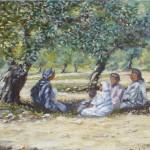 85-Conteur dans l'olivaie, huile sur toile, 24x19