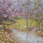 86-Amandiers en fleurs à Tafraoute, huile sur toile, 73x60, disponible à la vente.