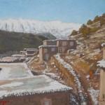 90-Paysage à Iskatafen, Aït Bouguemez, huile sur toile, 18x24