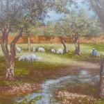91-Paysage à Ouzoud, huile sur toile, 27x35, disponible à la vente.