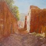 93-Rue à Tatiouine, huile sur toile, 27x22, disponible à la vente.