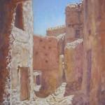 94-Zaouiat Sidi Hamza, rue de la casbah, huile sur toile, 24x33, disponible à la vente.