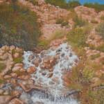 97-La source à Tatiouine, huile sur toile, 27x19, disponible à la vente.