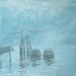 002: Péniches sur la Seine à Rouen, huile sur toile, 92x73, disponible à la vente.