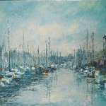 003: (photo galerie) Le port de plaisance à Ouistreham, huile sur toile, 33x19