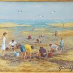 004: La pêche aux coques à Varaville, huile sur toile, 41x33