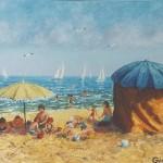 005: Parasols à Houlgate, huile sur toile, 35x24