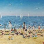 006: La plage à Houlgate, huile sur toile, 41x27